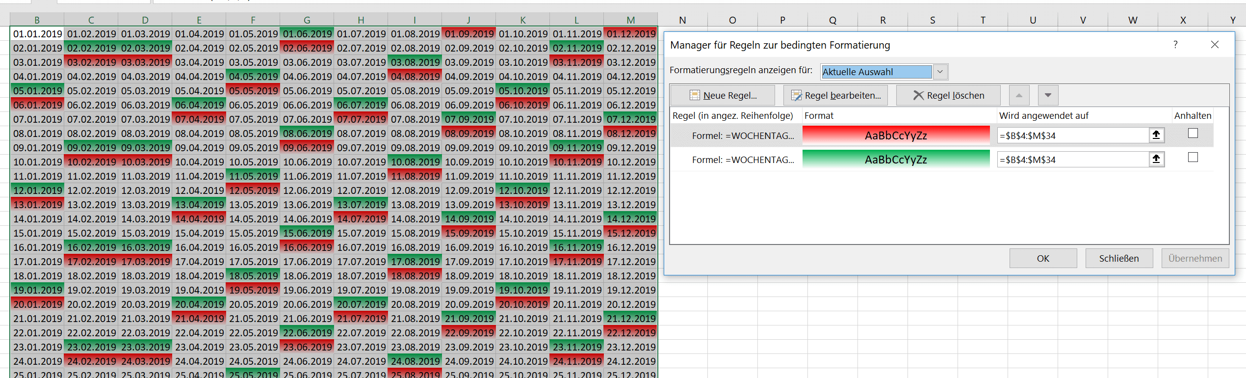 Excel Kalender Sonntage formatieren