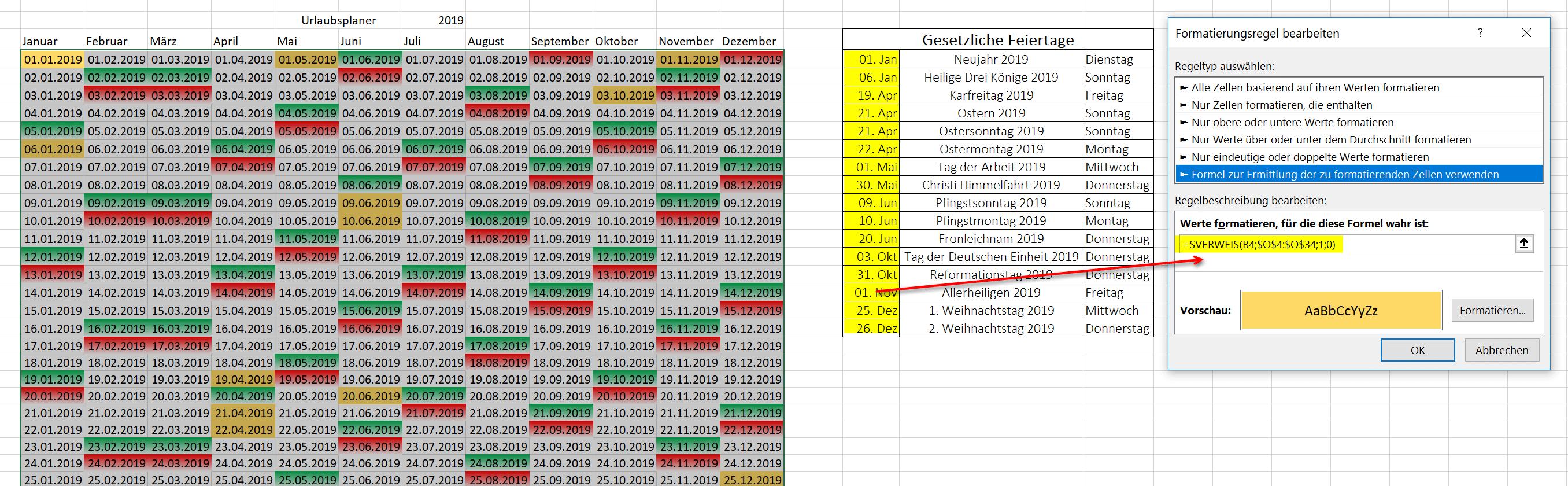 Feiertage in Excel Kalender hervorheben