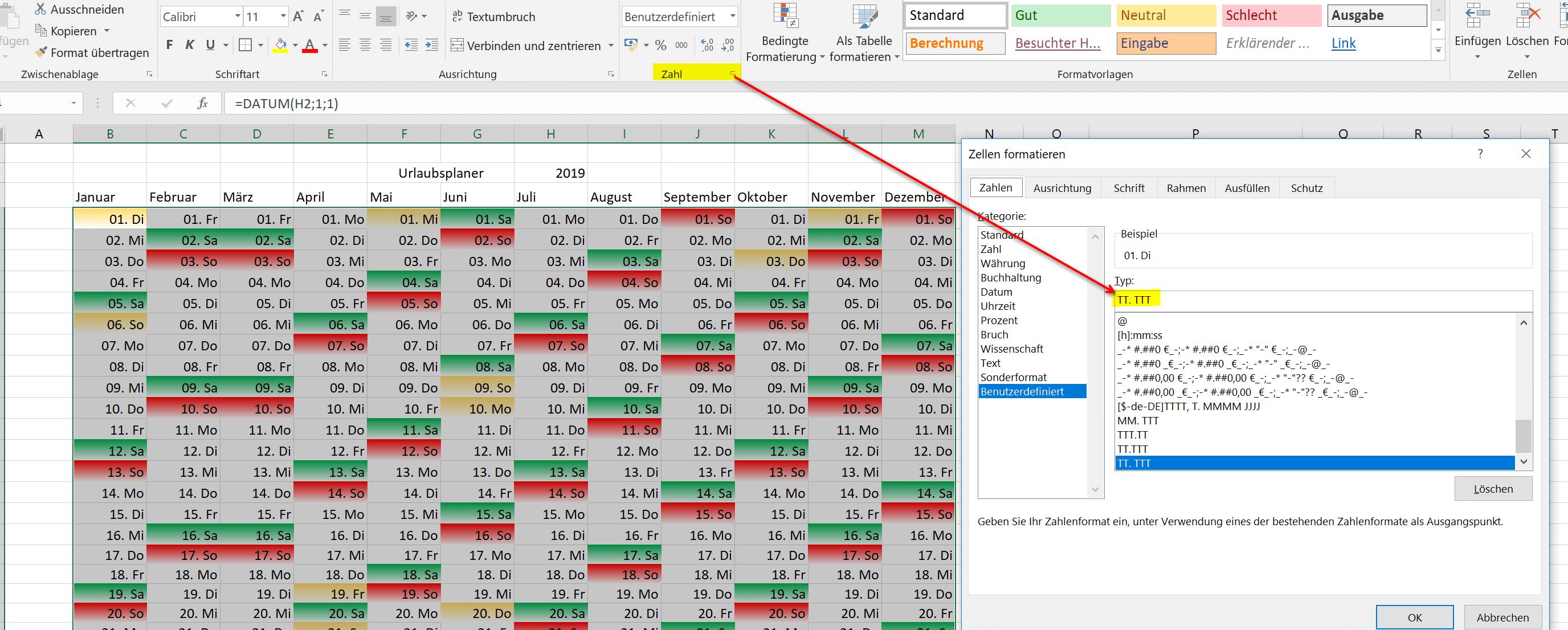 Datumswerte in Excel formatieren