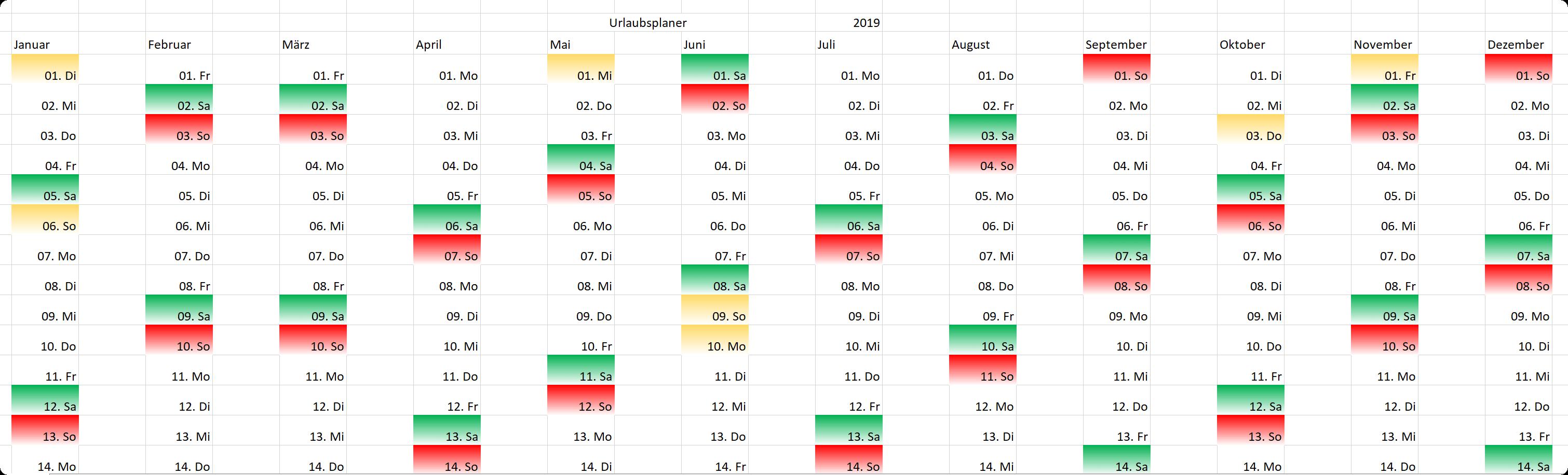 Excel Urlaubsplanung Zwischenschritt