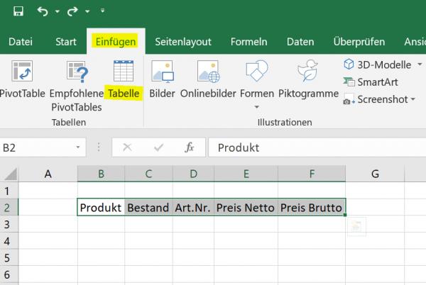 Dynamische Tabelle in Excel einfuegen