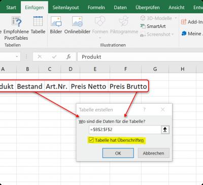 Dynamische Tabelle in Excel Datenbereich