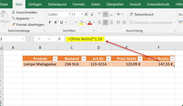 Rechnen mit dynamischen Tabellen in Excel