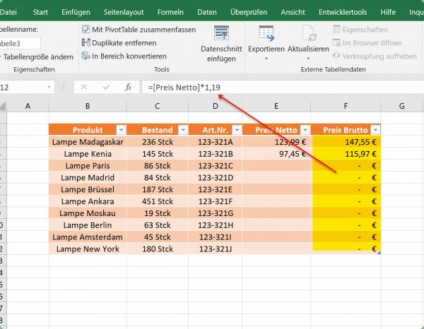 Formelübernahme in dynamischen Tabellen