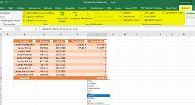 Funktionen in dynamischen Tabellen in Excel