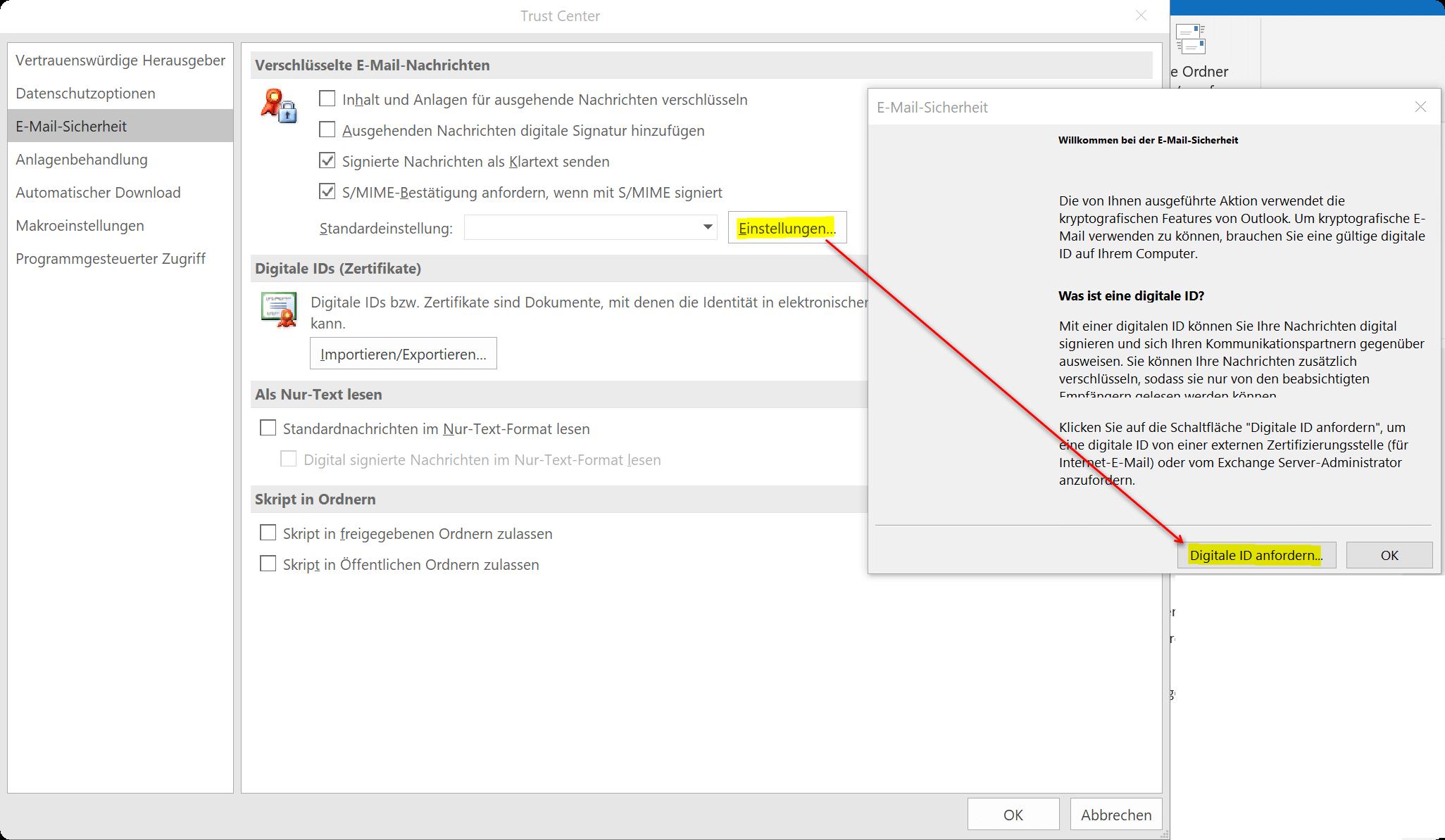 Digitale ID in Outlook anfordern