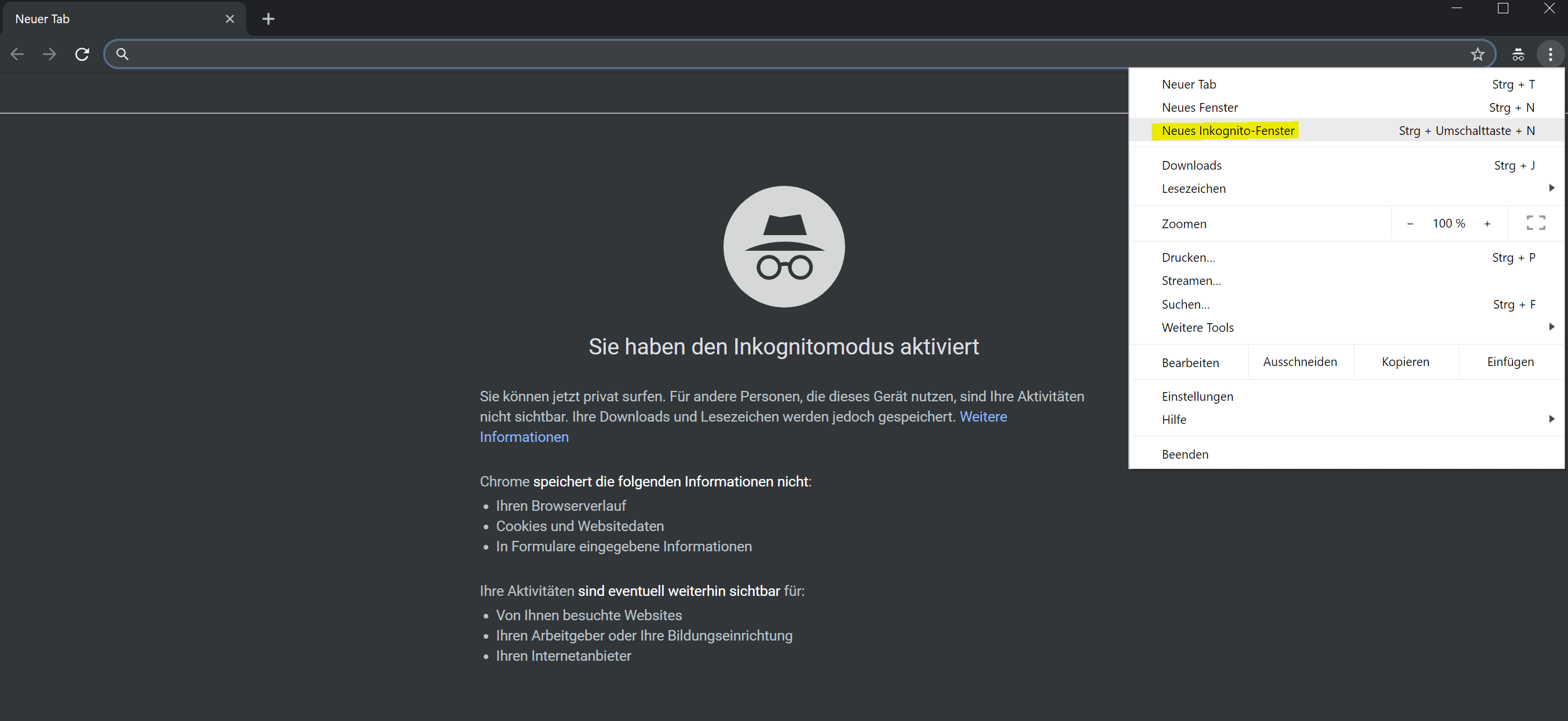 Inkognito Modus Google Chrome