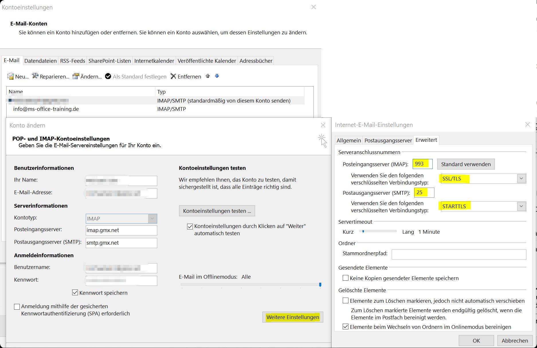 SSL E-Mail Verbindung in Outlook