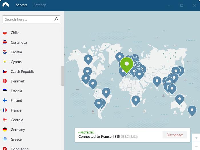 Nord VPN Serverauswahl