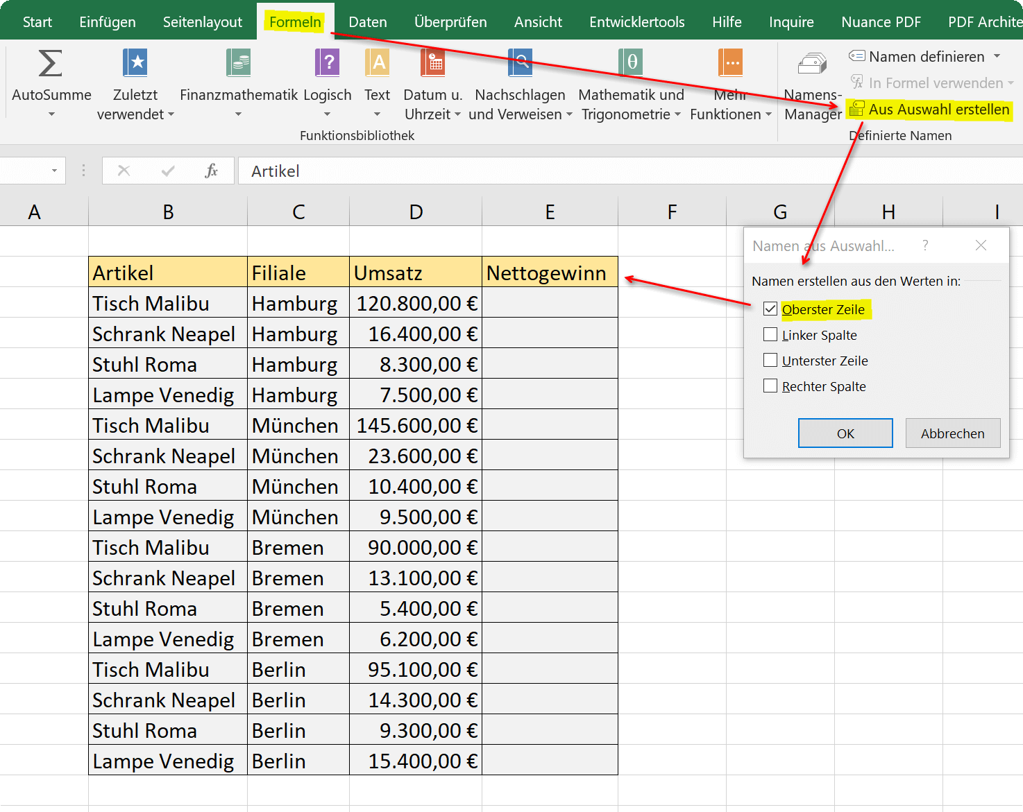 Automatically assign names by Excel