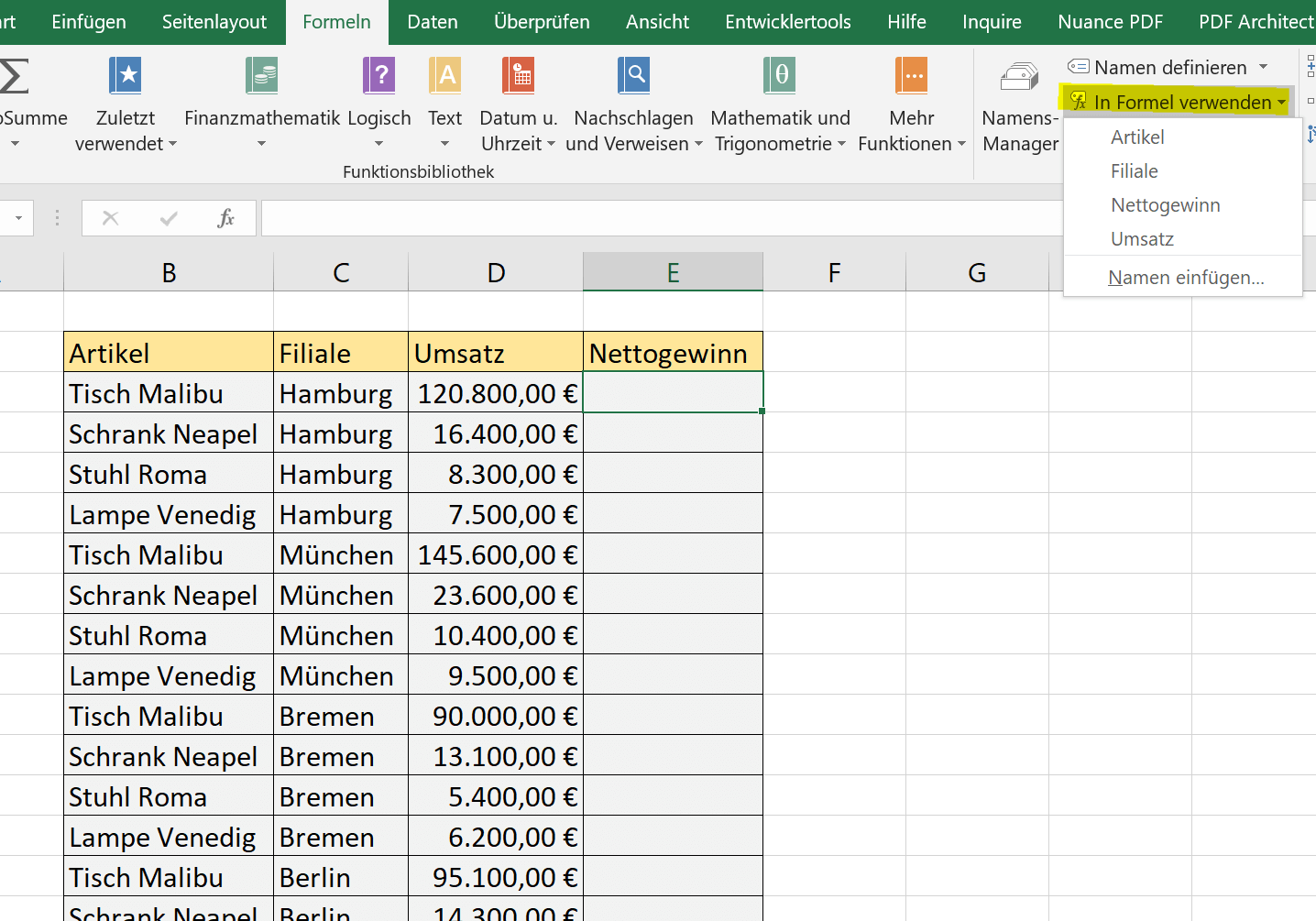 Use named ranges in Excel