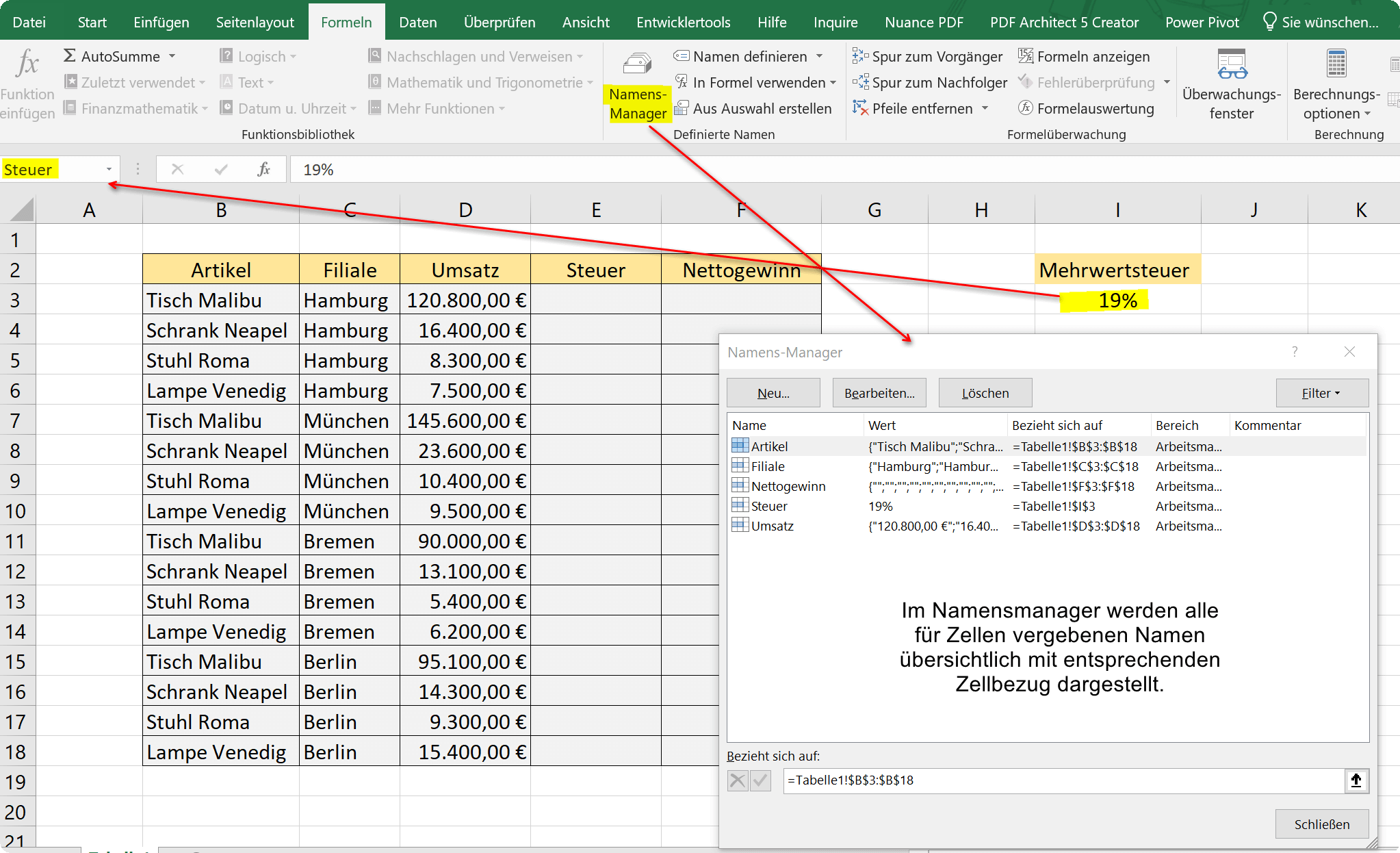 Names for cells in Excel via name field