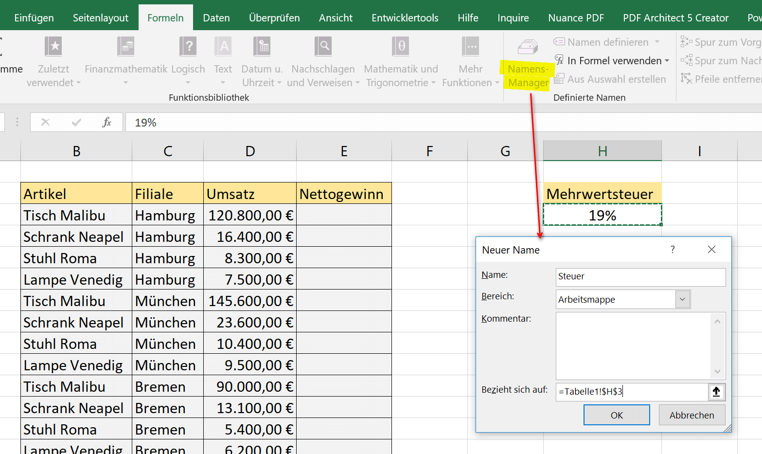 Create name with name manager in Excel