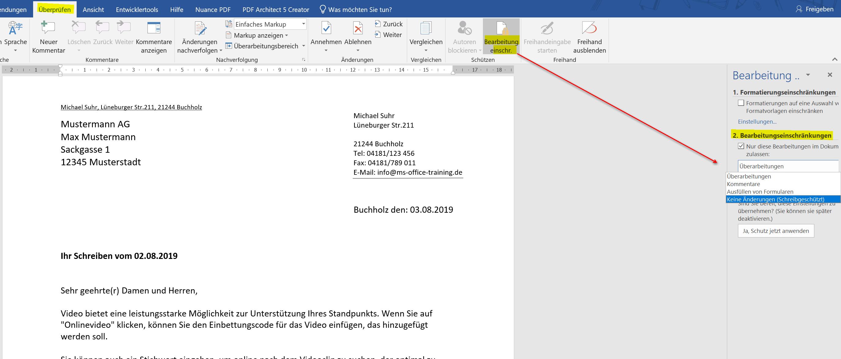 Word Dokument Bearbeitung einschraenken