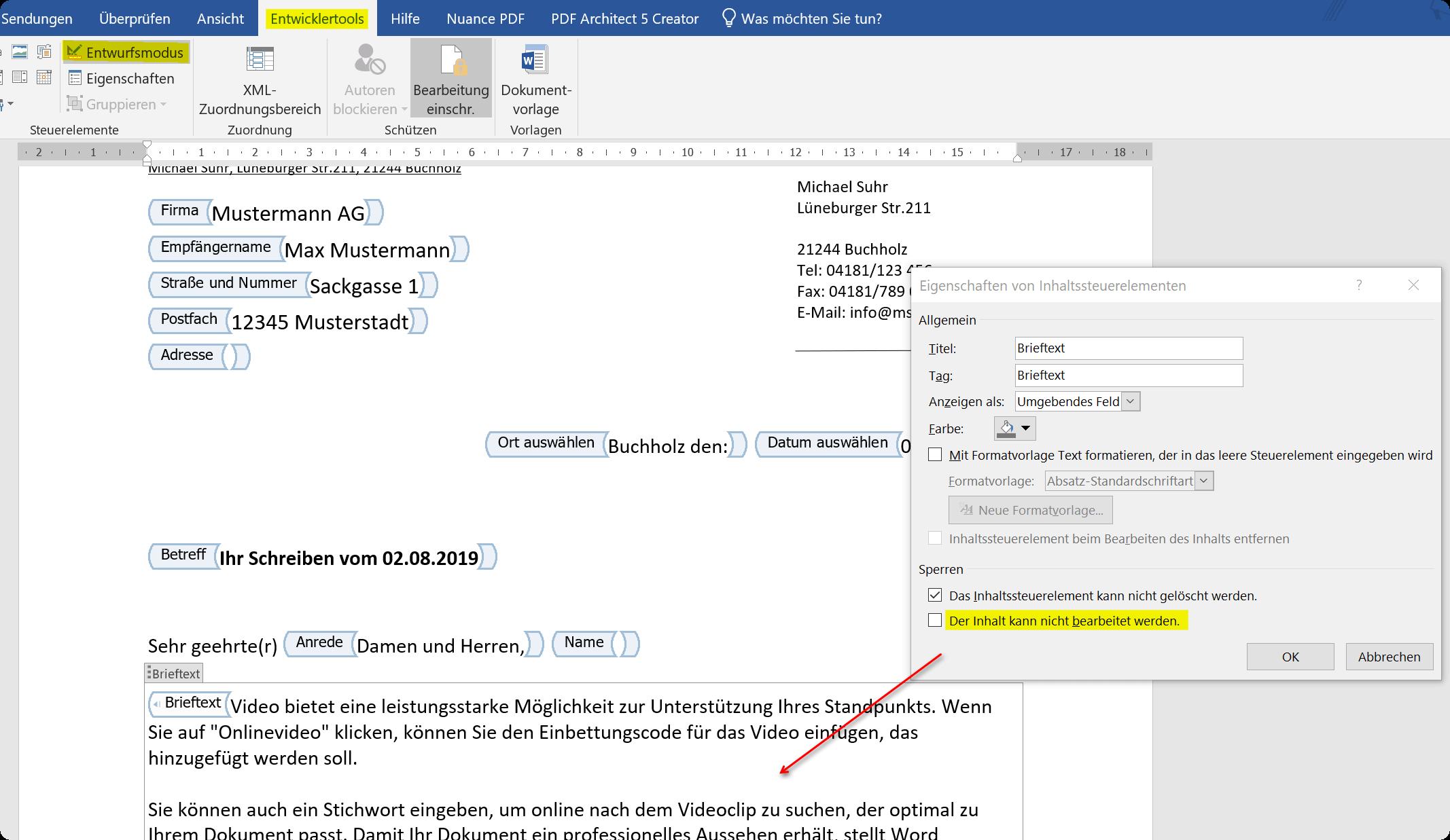 Word Dokument Bereiche schuetzen