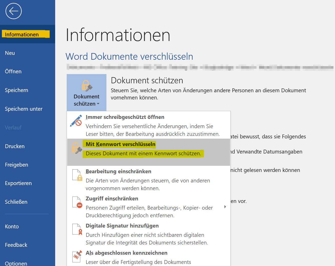 Word Dokument Passwortschutz