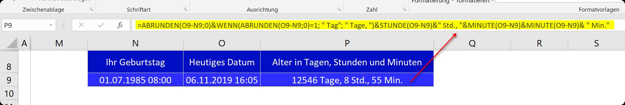 Mit Datum und Uhrzeit kombiniert in Excel rechnen