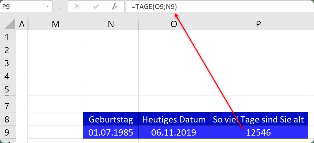 Wie alt bin ich in Tagen in Excel