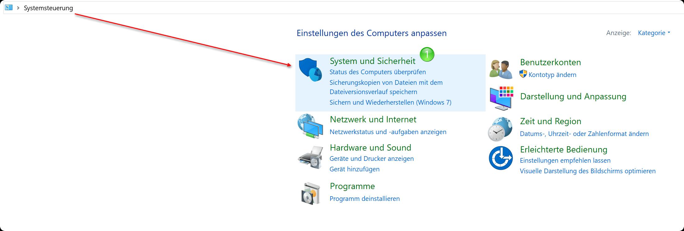 Windows 10 Systemsteuerung