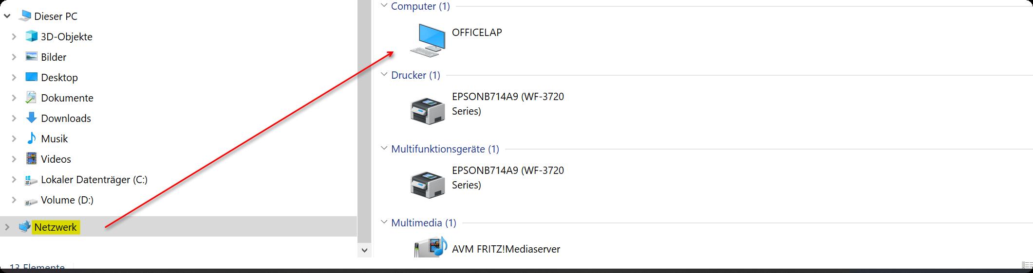 Netzwerkcomputer Windows 10
