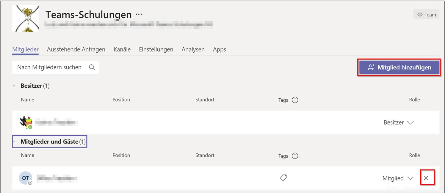 Entfernen von Mitgliedern in Microsoft Teams