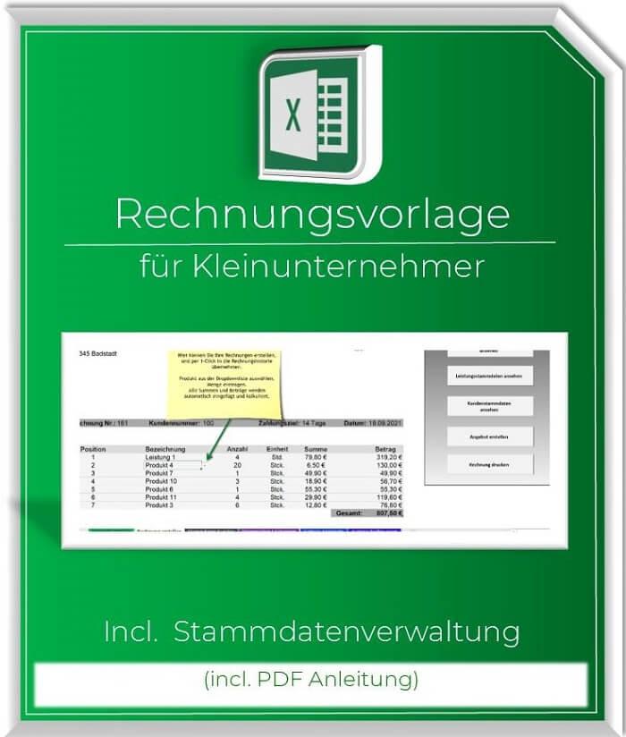 Excel Rechnungsvorlage Kleinunternehmer mit Stammdaten