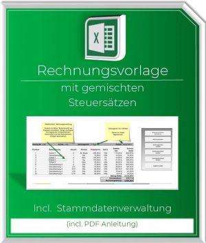 Excel Rechnungsvorlage mit gemischten Steuersaetzen und Stammdaten
