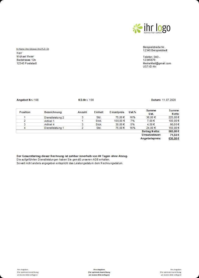 Rechnungsvorlage gemischte Steuer Beispiel