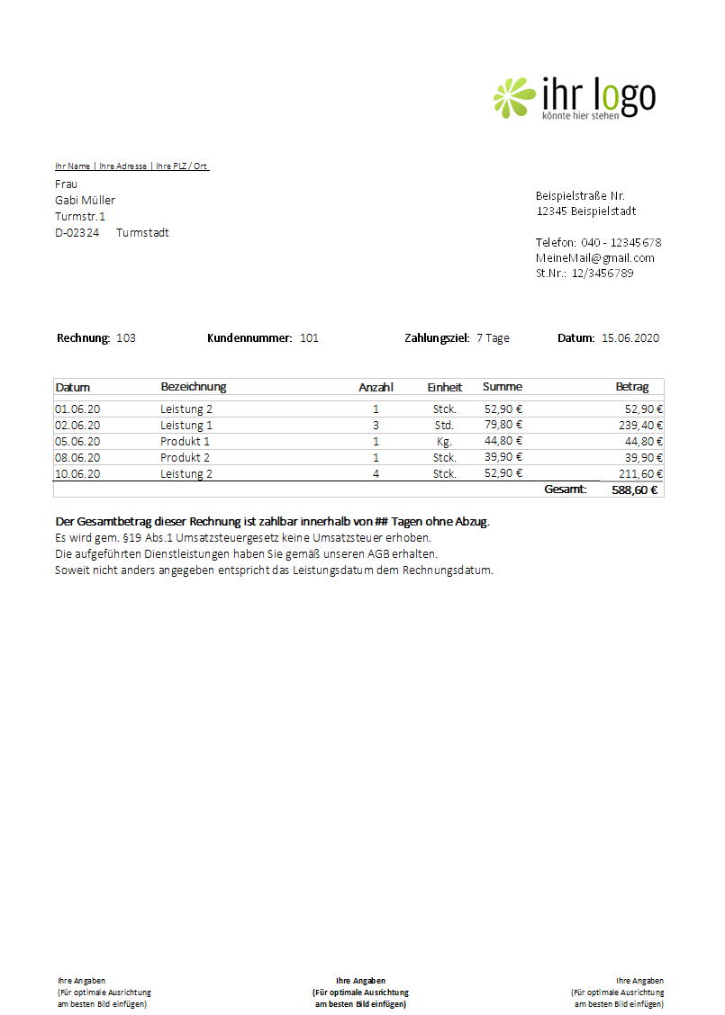 Rechnung Kleinunternehmer Beispiel