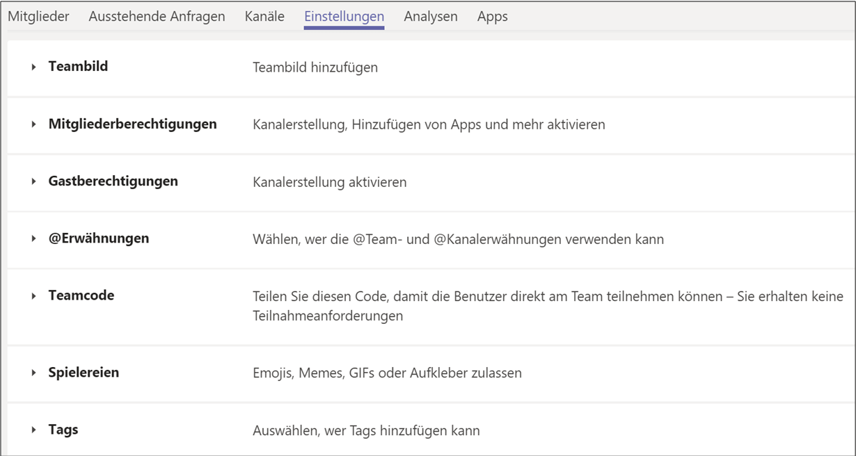 Teamverwaltung in Microsoft Teams