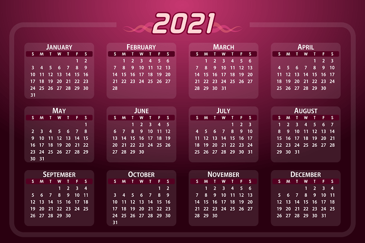Create Excel annual calendar 2021 with calendar week and public