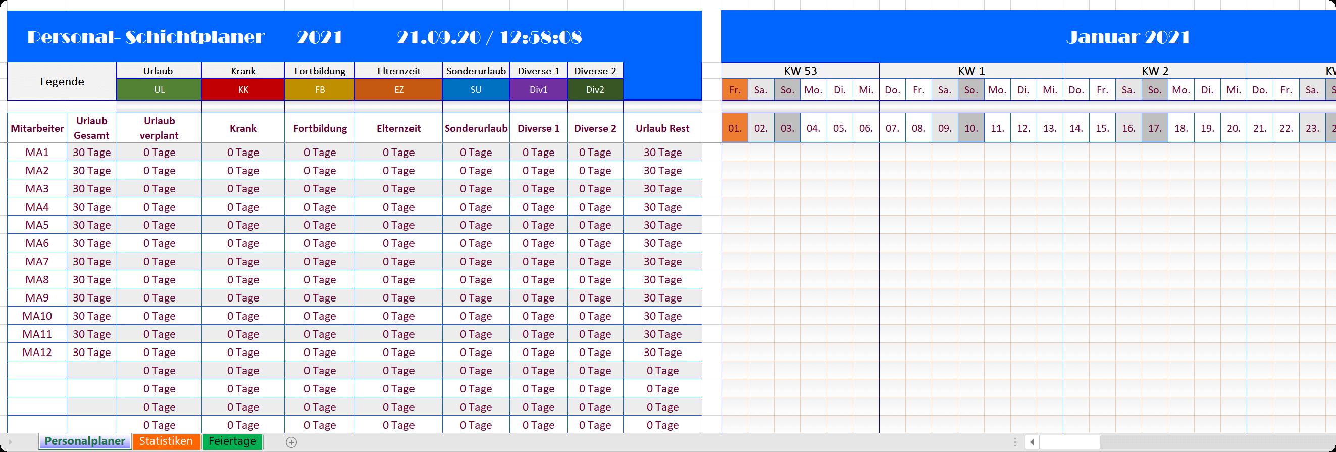 Excel Personalplaner 2021 - Blue