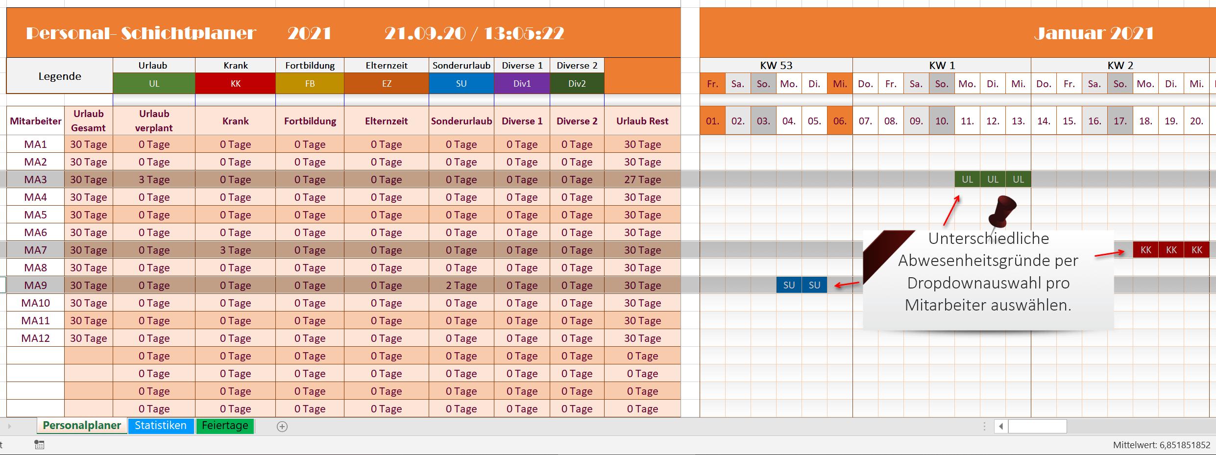 Excel Personalplaner 2021 - Funktionen Ansicht 1