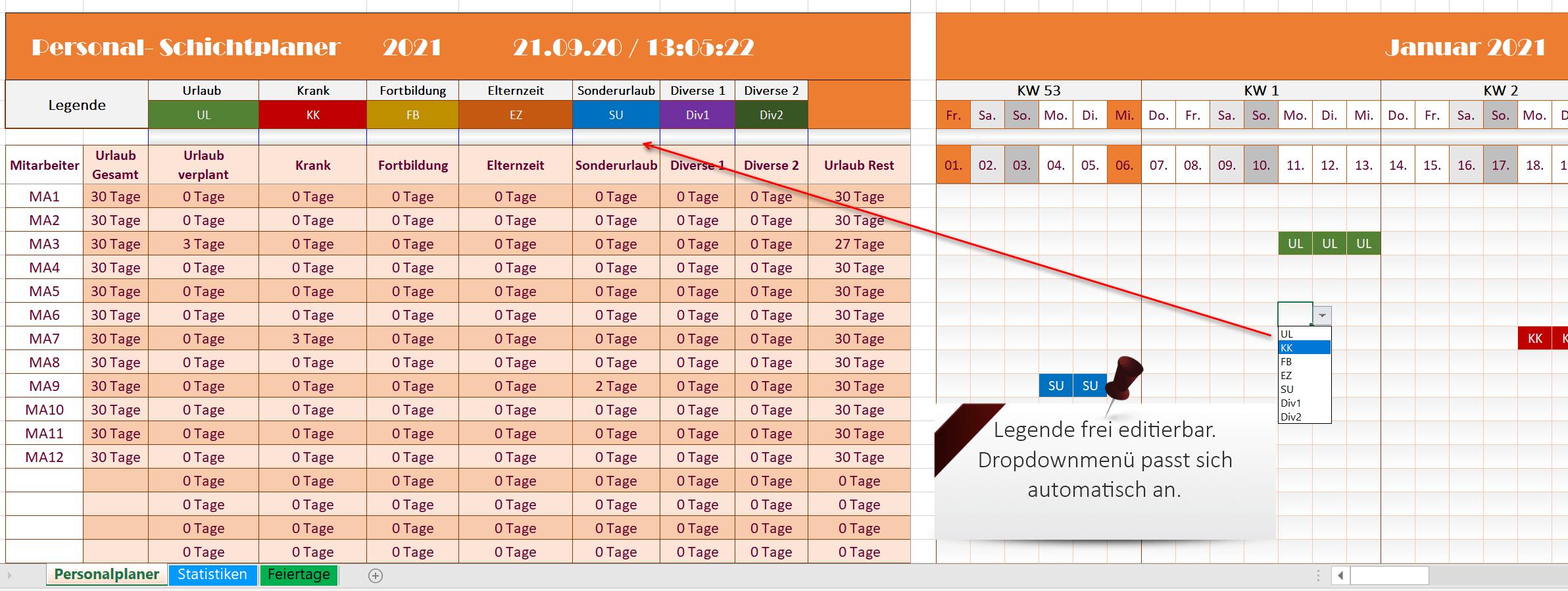 Excel Personalplaner 2021 - Funktionen Ansicht 2