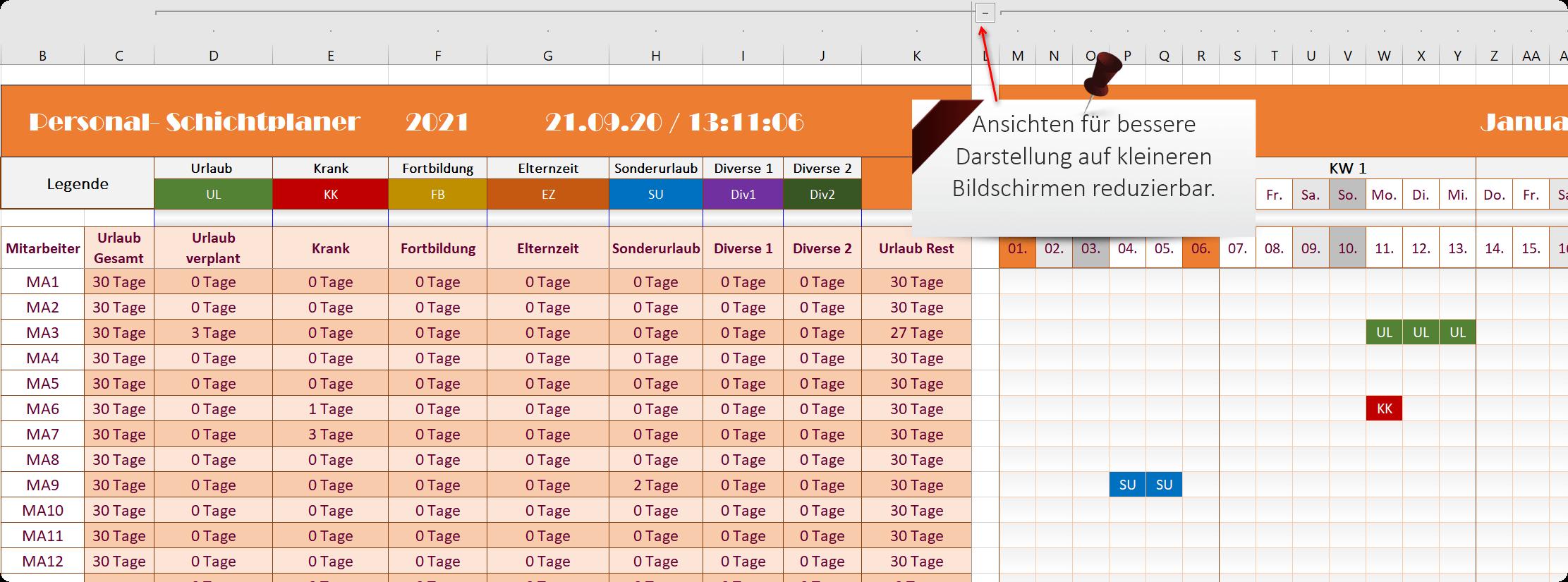 Excel Personalplaner 2021 - Funktionen Ansicht 3