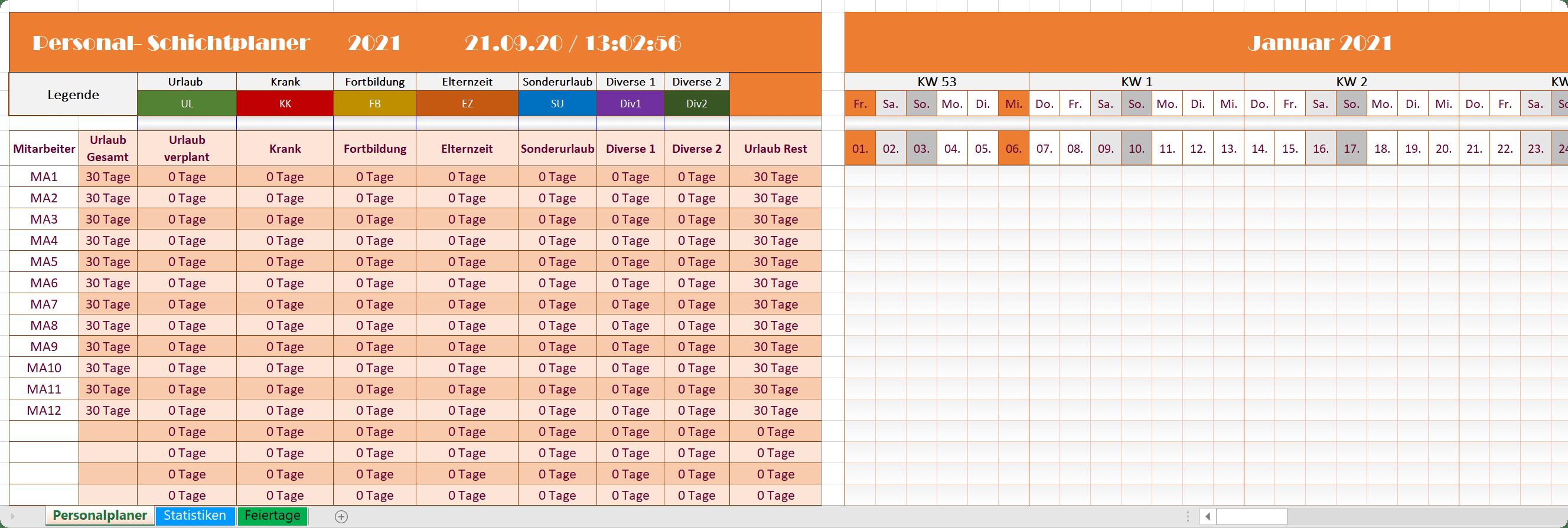 Excel Personalplaner 2021 - Orange