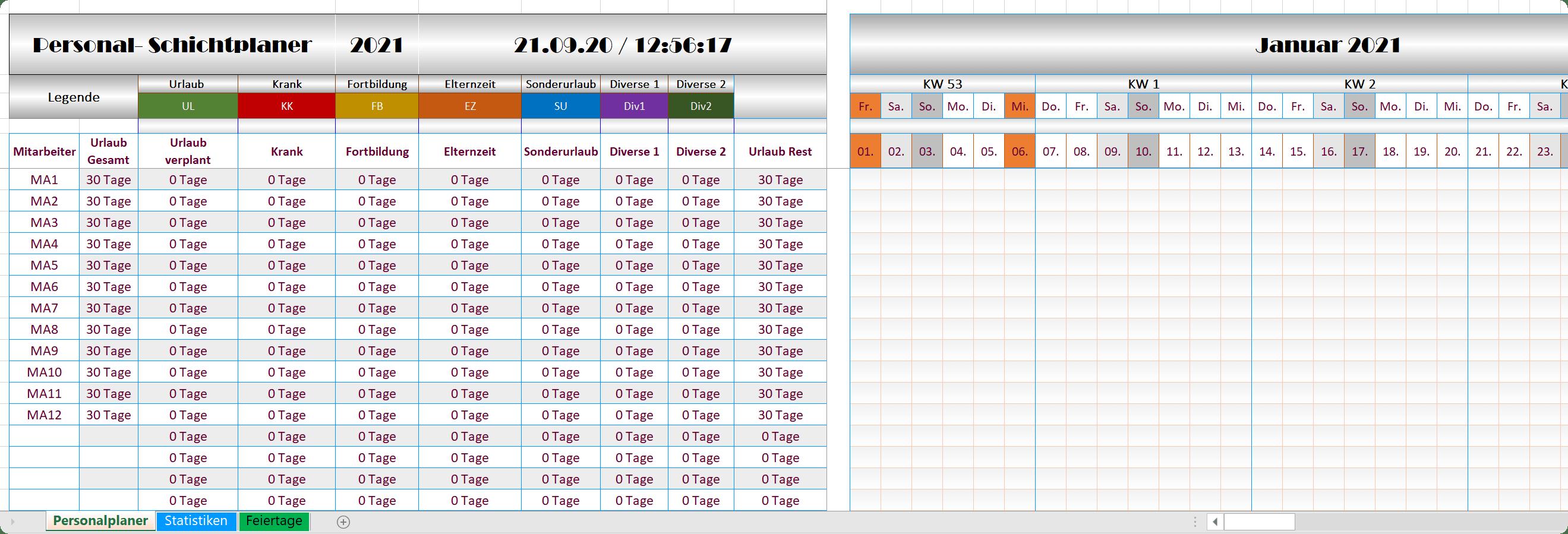 Excel Personalplaner 2021 - Steel