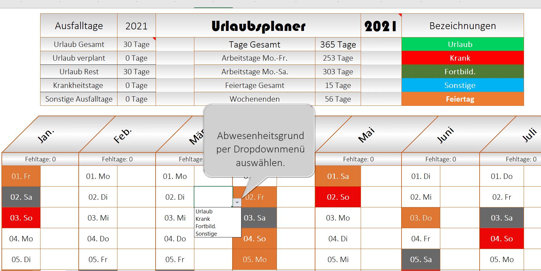 Excel Urlaubsplaner 2021 - Ansicht 2