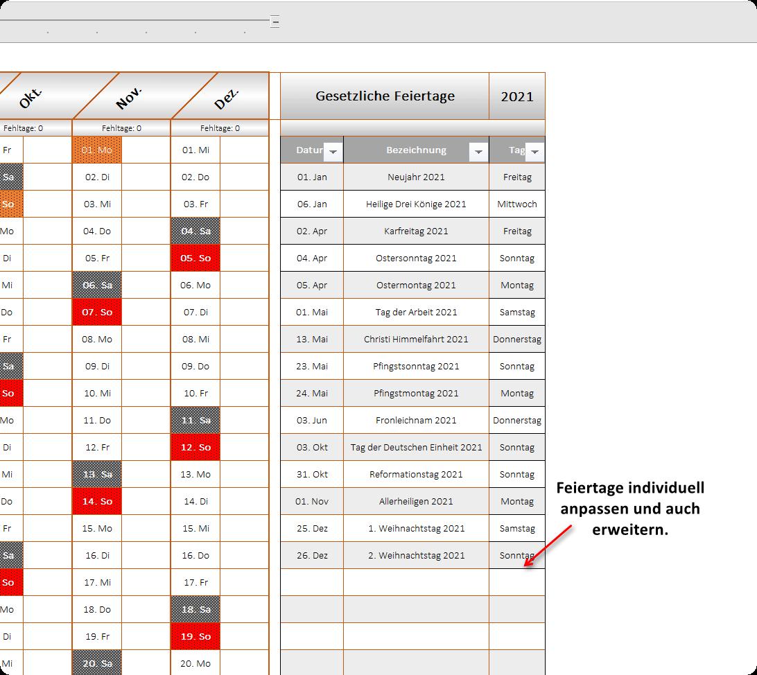 Excel Urlaubsplaner 2021 - Ansicht 3