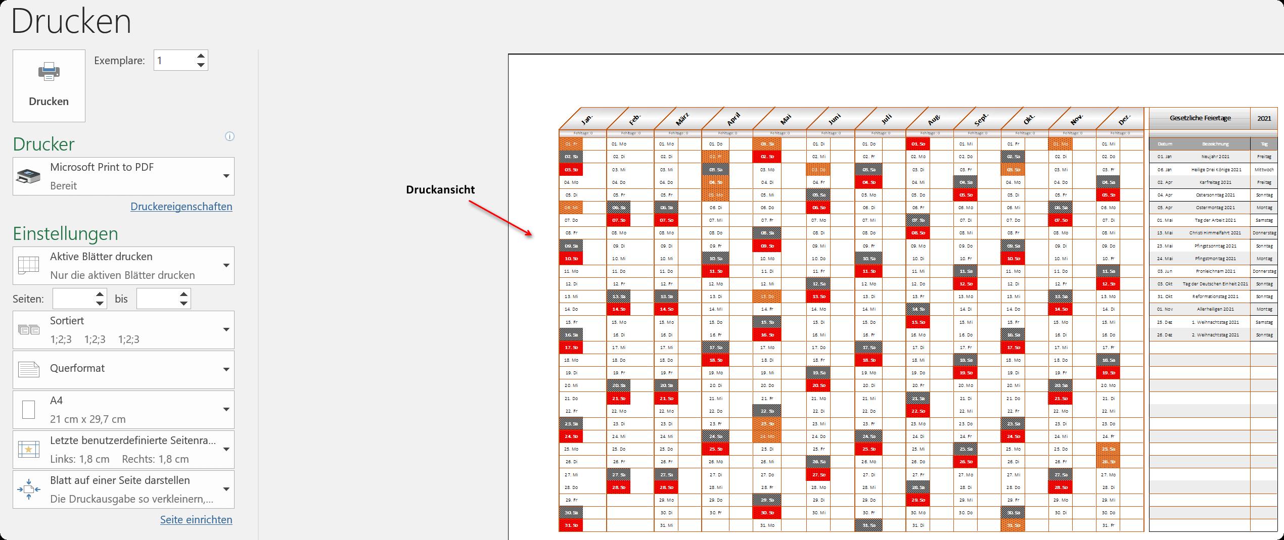 Excel Urlaubsplaner 2021 - Ansicht 4