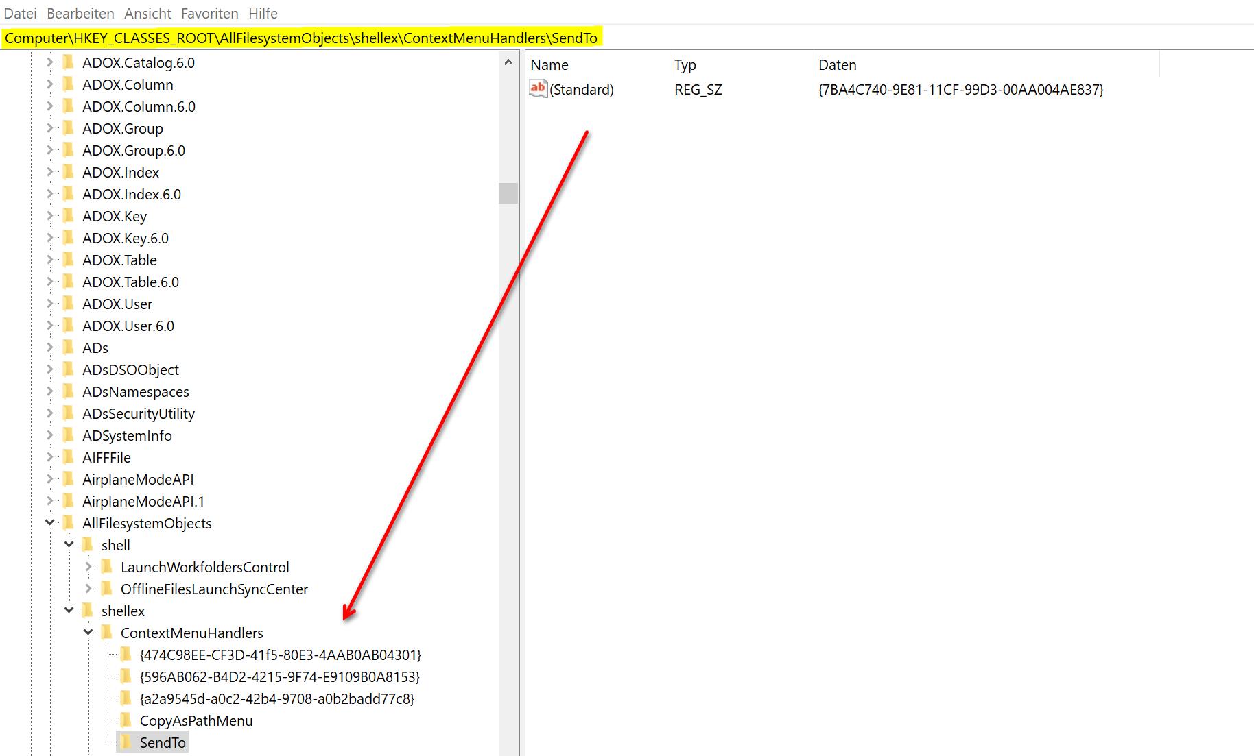 Windows 10 Registry_Kontextmenueeintraege bearbeiten