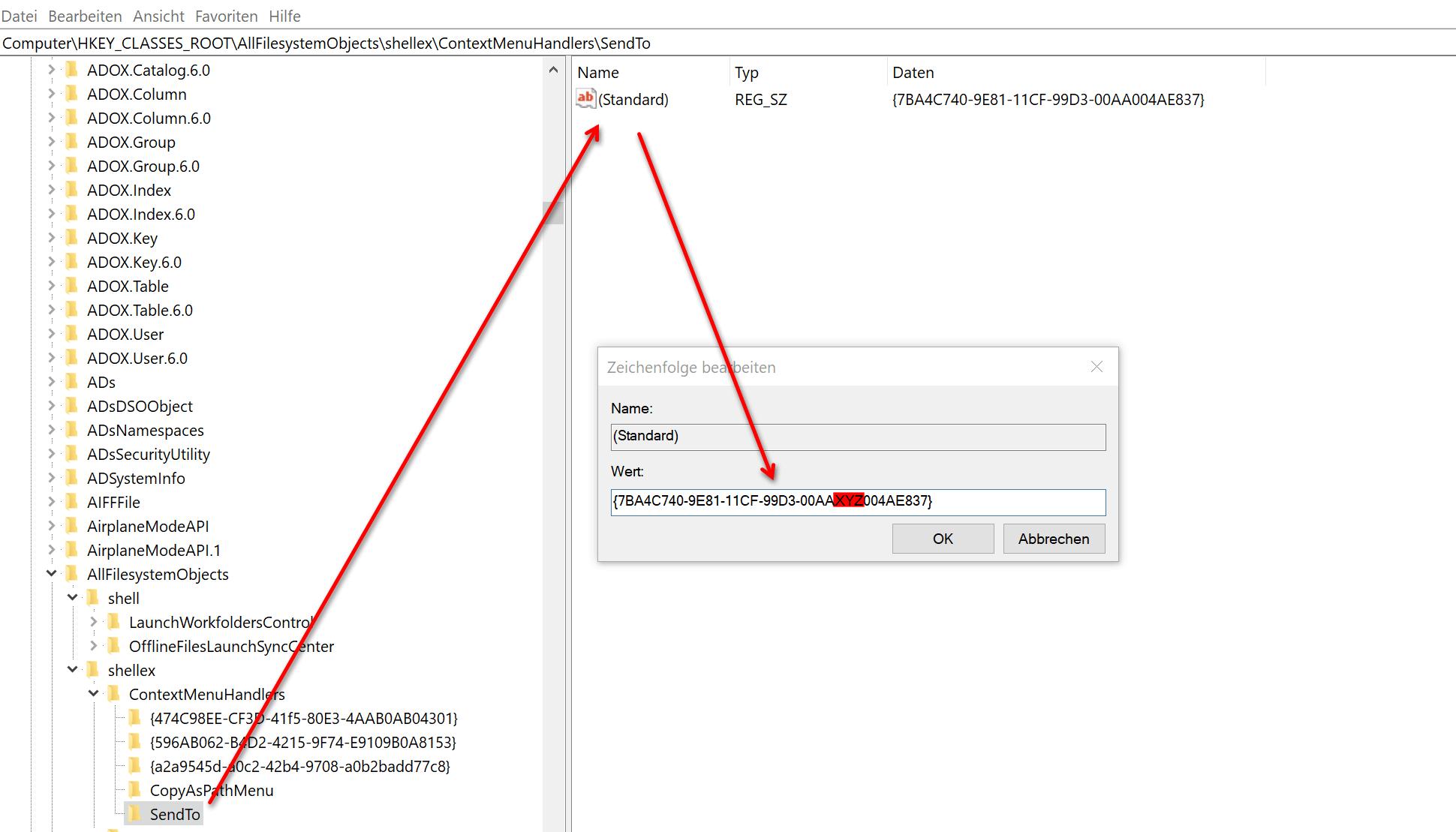 Windows 10 Registry_Kontextmenueeintraege bearbeiten_Schritt2