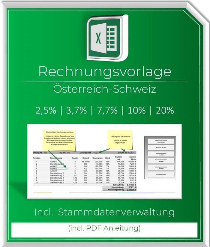 Excel Rechnungsvorlage Oesterreich Schweiz - mit Stammdaten